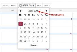 Kalender Monat wechseln