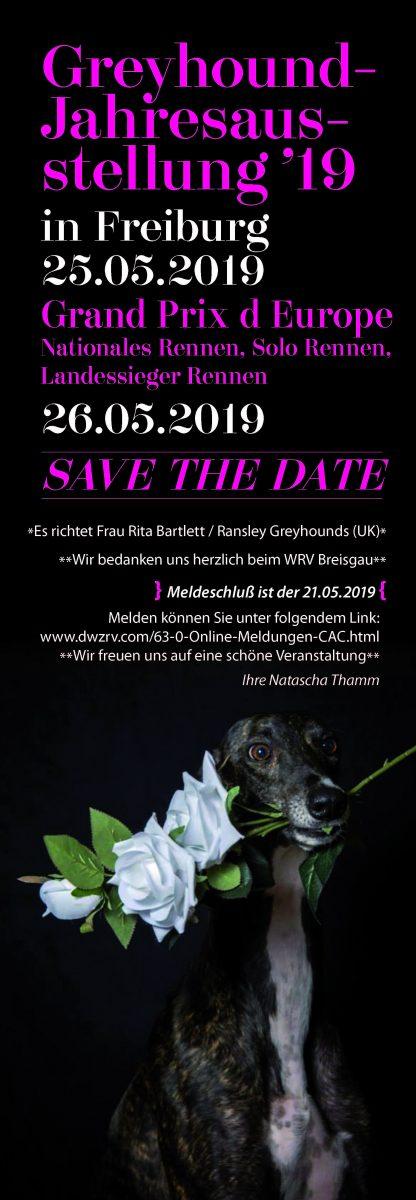 Greyhound Jahresausstellung Einladung 2019
